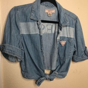 Guess jean crop top shirt